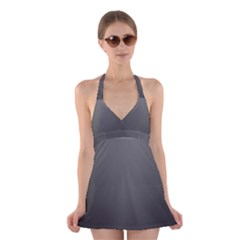 Gray Color Halter Swimsuit Dress