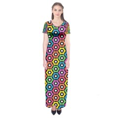 Geometric Pattern Single Page Short Sleeve Maxi Dress