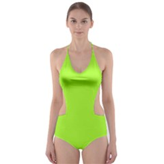 Green Color Cut-Out One Piece Swimsuit