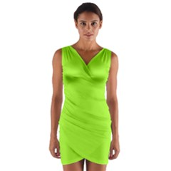 Green Color Wrap Front Bodycon Dress