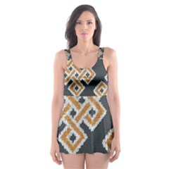 Geometric Cut Velvet Drapery Upholstery Fabric Skater Dress Swimsuit