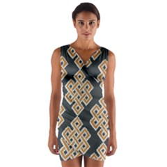 Geometric Cut Velvet Drapery Upholstery Fabric Wrap Front Bodycon Dress