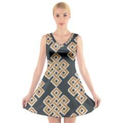 Geometric Cut Velvet Drapery Upholstery Fabric V-Neck Sleeveless Skater Dress