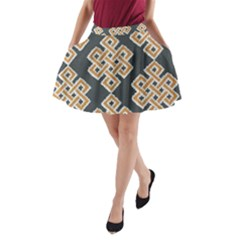 Geometric Cut Velvet Drapery Upholstery Fabric A-Line Pocket Skirt