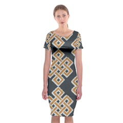 Geometric Cut Velvet Drapery Upholstery Fabric Classic Short Sleeve Midi Dress