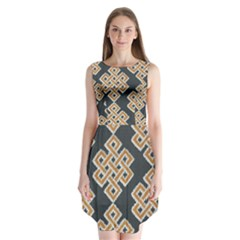 Geometric Cut Velvet Drapery Upholstery Fabric Sleeveless Chiffon Dress