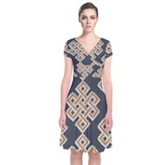 Geometric Cut Velvet Drapery Upholstery Fabric Short Sleeve Front Wrap Dress
