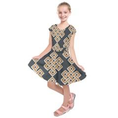 Geometric Cut Velvet Drapery Upholstery Fabric Kids  Short Sleeve Dress