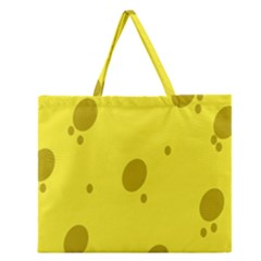 Hole Cheese Yellow Zipper Large Tote Bag