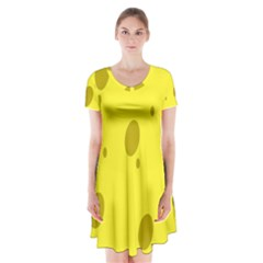 Hole Cheese Yellow Short Sleeve V-neck Flare Dress