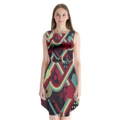 Illustration Sleeveless Chiffon Dress