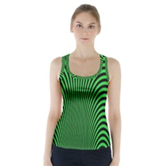 Green Optical Illusion Racer Back Sports Top