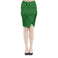 Green Optical Illusion Midi Wrap Pencil Skirt