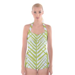Leaf Coconut Boyleg Halter Swimsuit