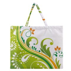 Leaf Flower Green Floral Zipper Large Tote Bag