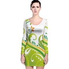 Leaf Flower Green Floral Long Sleeve Velvet Bodycon Dress