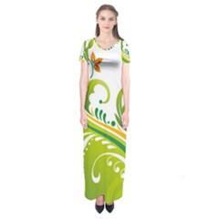 Leaf Flower Green Floral Short Sleeve Maxi Dress
