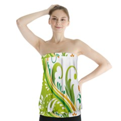 Leaf Flower Green Floral Strapless Top