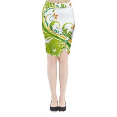 Leaf Flower Green Floral Midi Wrap Pencil Skirt