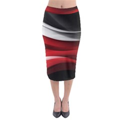 Lines Red Midi Pencil Skirt