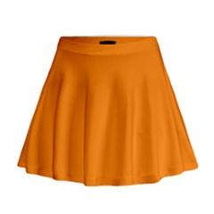 Orange Color Mini Flare Skirt
