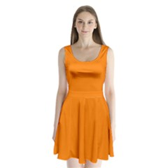 Orange Color Split Back Mini Dress