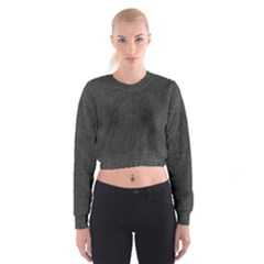 Linen Solid Fabric Women s Cropped Sweatshirt