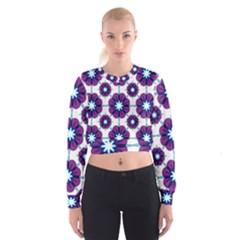 Link Scheme Analogous Purple Flower Women s Cropped Sweatshirt