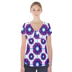 Link Scheme Analogous Purple Flower Short Sleeve Front Detail Top
