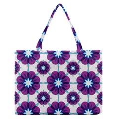 Link Scheme Analogous Purple Flower Medium Zipper Tote Bag