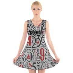 Number V-Neck Sleeveless Skater Dress