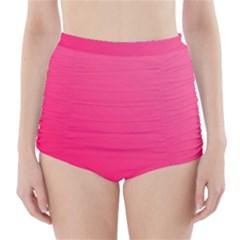 Pink Color High-Waisted Bikini Bottoms
