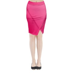 Pink Color Midi Wrap Pencil Skirt