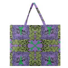 Paris Eiffel Tower Purple Green Zipper Large Tote Bag