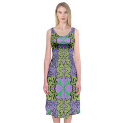 Paris Eiffel Tower Purple Green Midi Sleeveless Dress