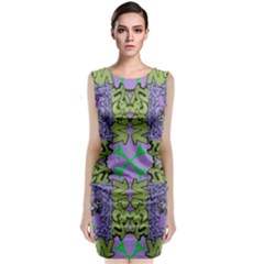 Paris Eiffel Tower Purple Green Classic Sleeveless Midi Dress