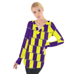 Preview Wallpaper Optical Illusion Stripes Lines Rectangle Women s Tie Up Tee