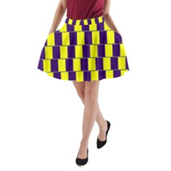Preview Wallpaper Optical Illusion Stripes Lines Rectangle A-Line Pocket Skirt