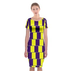 Preview Wallpaper Optical Illusion Stripes Lines Rectangle Classic Short Sleeve Midi Dress