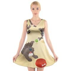 Puppy Dog V-Neck Sleeveless Skater Dress
