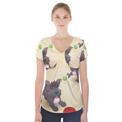 Puppy Dog Short Sleeve Front Detail Top