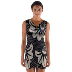 Printed Fan Fabric Wrap Front Bodycon Dress