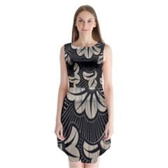 Printed Fan Fabric Sleeveless Chiffon Dress