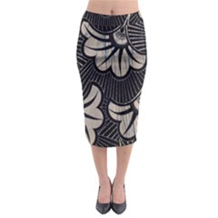 Printed Fan Fabric Midi Pencil Skirt
