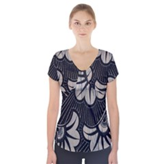 Printed Fan Fabric Short Sleeve Front Detail Top