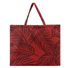 Red Palm Zipper Large Tote Bag