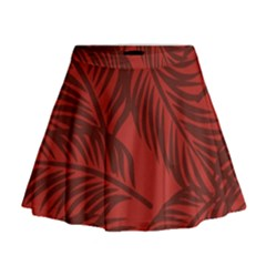 Red Palm Mini Flare Skirt