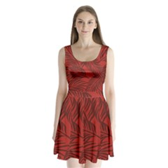 Red Palm Split Back Mini Dress