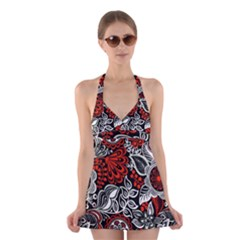 Red Batik Flower Halter Swimsuit Dress