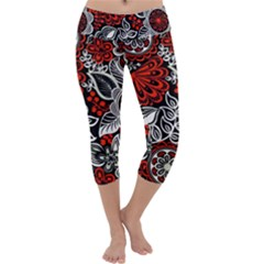 Red Batik Flower Capri Yoga Leggings